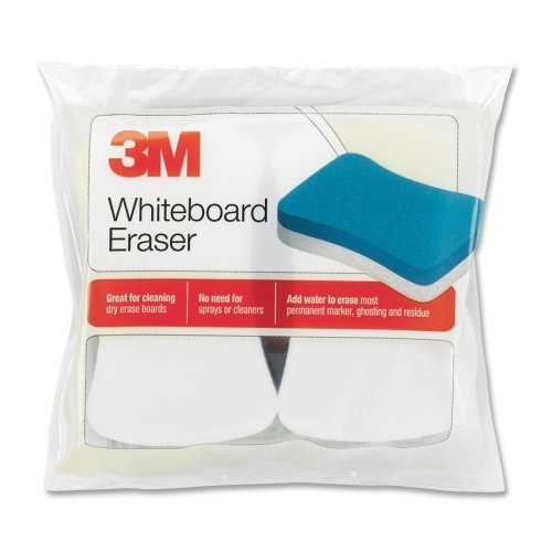 Wholesale CASE of 25 - 3M Whiteboard Eraser-Whiteboard Eraser Pads, 5''x3'', 2/PK, White/Blue by 3M