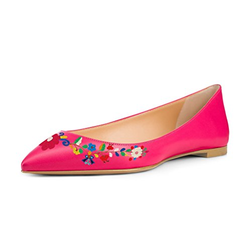 US Pink Women with Hot Shoes 4 Flower Print Heels Size 15 Slip Dress Pointed Low Flats On Toe FSJ Adoreable TnqxYHwddF