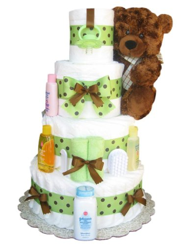 4 Tier Brown and Green Diaper Cake by diapercakewalk