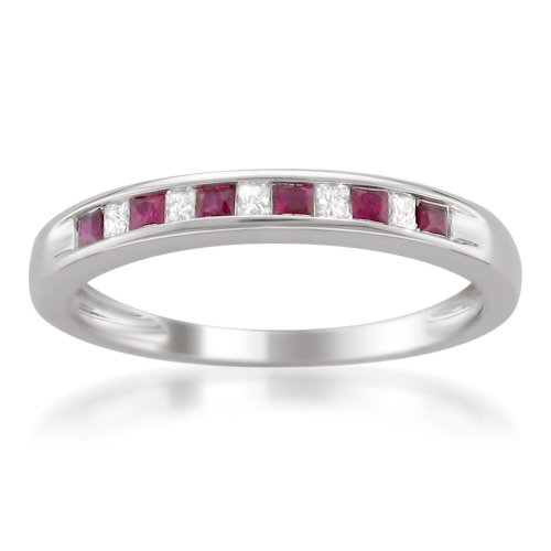 14k White Gold Princess-cut Diamond and Red Ruby Wedding Band Ring (1/3 cttw, H-I, I1-I2), Size 5 (Diamond Princess Cut Mens Ring)