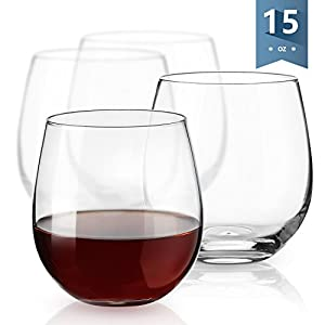 Sweese 6101 Stemless Wine Glasses, 15 Ounce, Great for White or Red Wine - Set of 4