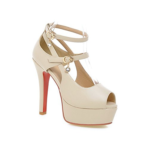 1TO9 Womens Buckle Solid Peep-Toe Polyurethane Sandals Beige sOWXu4fH6