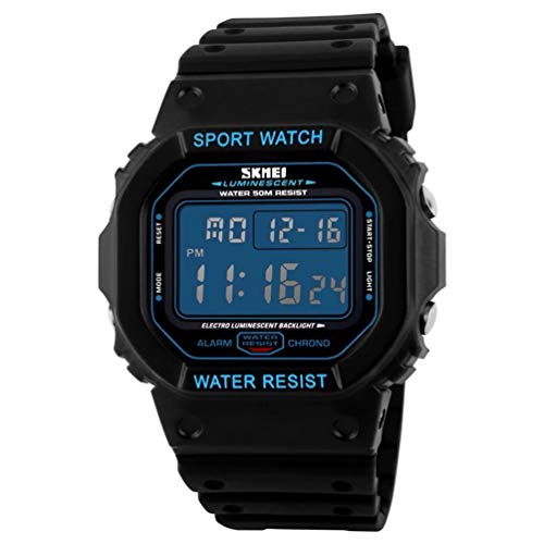 Hanytime Mens Watch Digital Sports Fashion Watch Electronic Waterproof Square Dial LED Luminous Military Army Multifuctional Watch