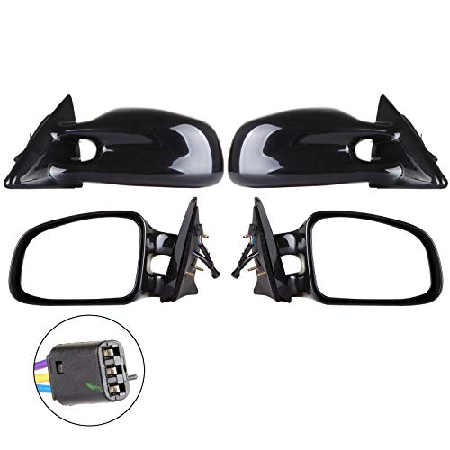 cciyu Black Left and Right Side View Mirror Power Adjustment Non-Heated Non-Folding Fits for 1999 2000 2001 2002 2003 Pontiac Grand Am