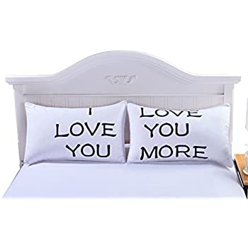 Sleepwish One Pair I LOVE YOU MORE Pillow Case Cover Pillow Romantic Wedding Valentine's Gift for Him or Her 50x75cm