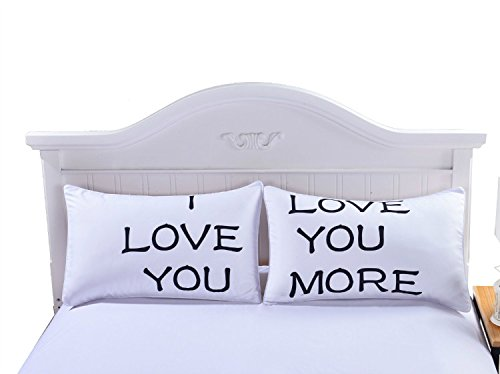 I Love You - Love You More Pillow Cases for Couples, Lovers, Wedding, Anniversary, Engagement, Romantic Gift Idea for Him or Her - Bedroom Romantic Heart