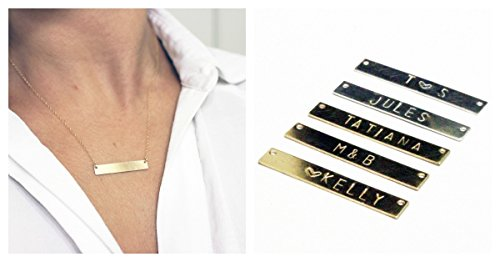 14k Plate Gold Name - Bar Necklace Personalized Name Necklace 14k Gold Filled Custom Made Any Name