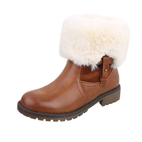 Zapatos para mujer Botas Tacón ancho Classic Botines Ital-Design Braun