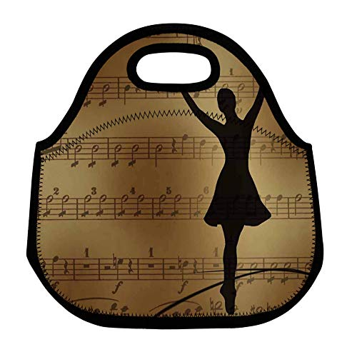 ZMvise Music Note Ballet Dance Lunch Tote Insulated Reusable Picnic Bags Boxes Men Women Youth Teens Nurses Travel Bag