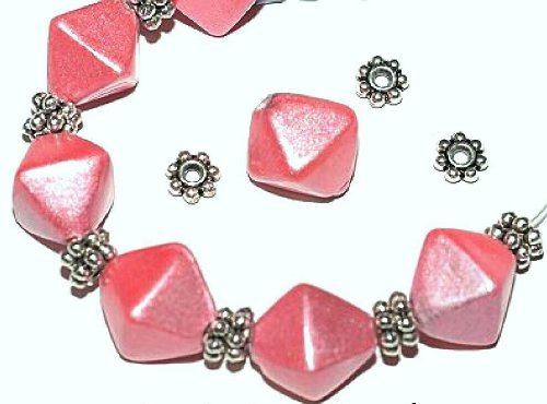 *HUGE BEADS & CHARMS SALE!* 10 x Pink 'Metallic Lustre' Bicone Glass Beads 13mm + 20 x Silver Daisy Spacers (Ref:13A35) Just Say Beads
