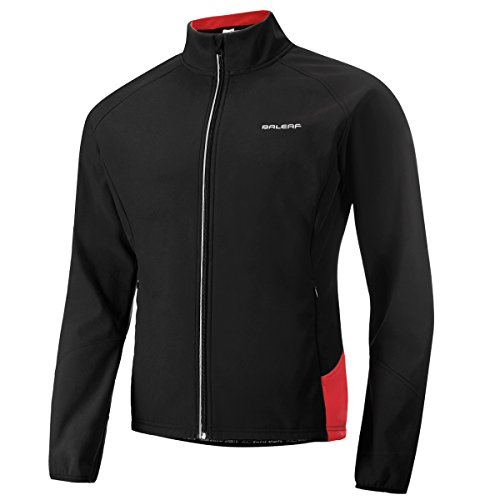 Baleaf Men's Windproof Thermal Softshell Cycling Winter Jacket Black Red Size XL
