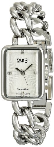 Burgi Women's BUR100SS Stainless Steel Watch with Link Bracelet