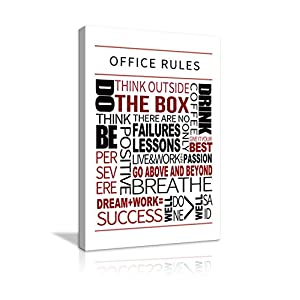 AMEMNY Inspirational Office Wall Art Office Rules Motivational Poster Prints on Canvas Positive Affirmation Teamwork…