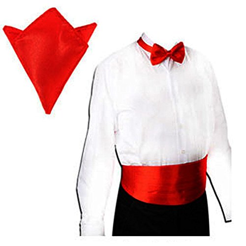 Tinksky Men's Satin Bow Tie Cummerbund Hanky Handkerchief Wedding Party Accessories 3pcs (Red) (Cummerbund Costume)