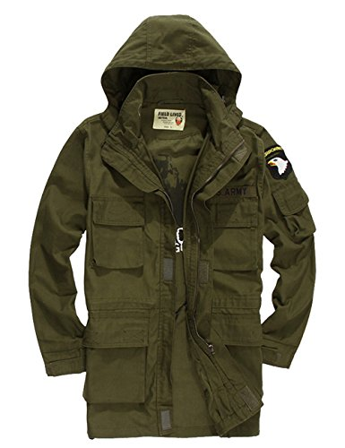Menschwear Men's Windbreaker Jacket Military Hooded Trenc...