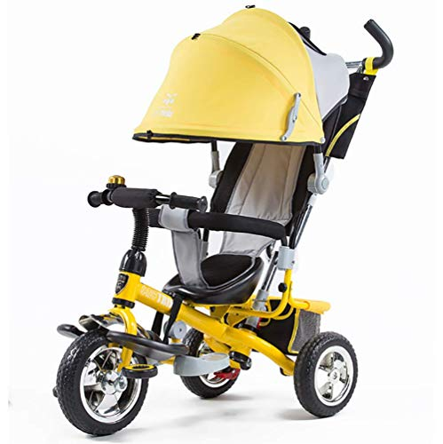 Tricycle Children's Trike with Sun Canopy and Removable Parent Handle Buggy Stroller Fit from 6 Months to 6 Years Boys and Girls Colour (Best Joe's Usa Baby Strollers)