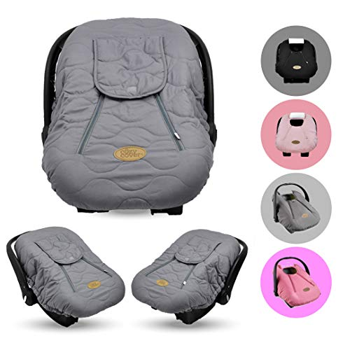 Cozy Cover Infant Car Seat Cover (Gray Quilt) – The Industry Leading Infant Carrier Cover Trusted by Over 6 Million Moms Worldwide for Keeping Your Baby Cozy & Warm