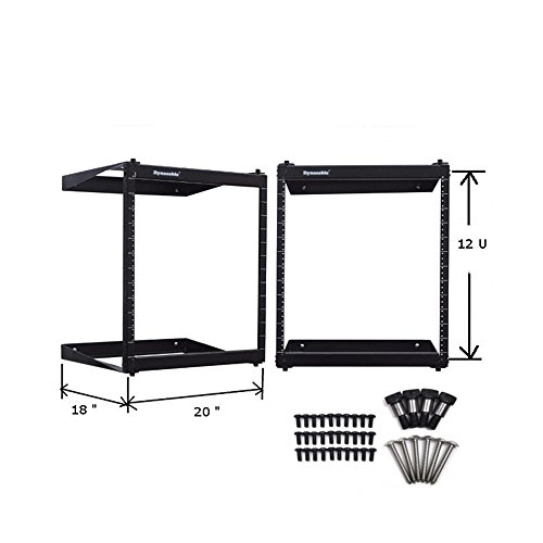 DynaCable 12U 19-Inch Open Frame Swing Out Rack Mount for Network Equipment, 18-inch Depth, Heavy Duty - 250 Pound Capacity, Installation Kit Included