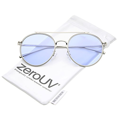 zeroUV - Modern Metal Round Aviator Sunglasses With Crossbar Slim Arms And Colored Flat Lens 54mm (Silver / - Sunglasses Colored Aviator