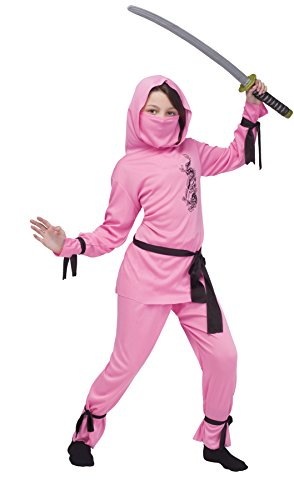 Girls Pink Ninja Costumes (Girls Pink Ninja Kids Child Fancy Dress Party Halloween Costume, S (4-6))