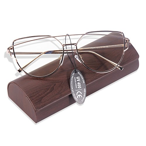 YOOSUN Reading Glasses Clear Lens Block Blue Rays Fashion Cateye Eyeglasses P1074 (GOLD, Clear - Lenses Light Blue