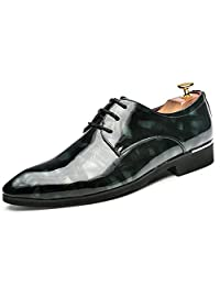 Mens Patent Leather Tuxedo Dress Shoes Lace up pointed Toe Business Oxfords Formal Wedding Shoes