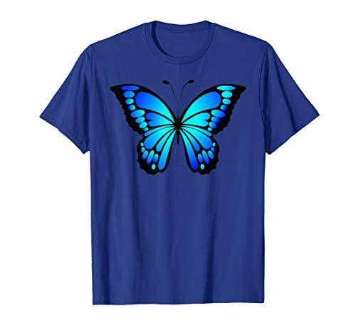 Blue Butterfly T Shirt (Butterfly White T-shirt Blue)