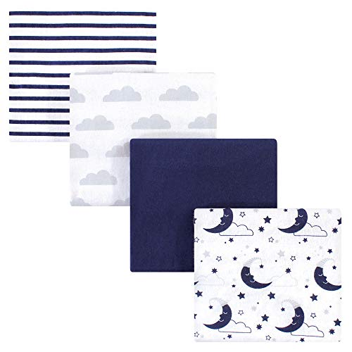 Hudson Baby 4-Piece Flannel Receiving Blanket, Moon, One Size