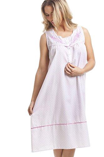 Classica Dot Senza Camicia Maniche Home Notte Rosa Da Cfhjn Bianca X0wZzq7x