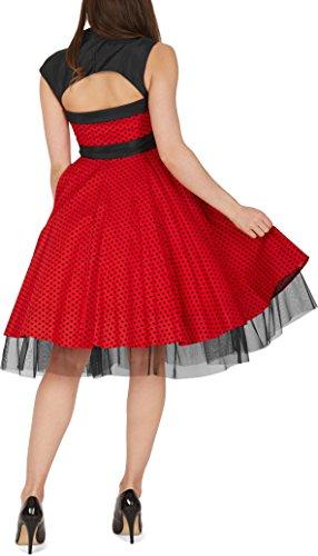 Blackbutterfly Con 'athena' Gran Lunares De Negros Rojo Lazo Vestido TfTrwqI