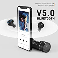Wireless Earbuds, Iyesku YK-T08 True Wireless Bluetooth 5.0 Headphones with 15H Playtime, Touch Control, Auto Pairing, Song Switching, Volume Control, Binaural Mic, in-Ear Mini Earphones - Black from iyesku