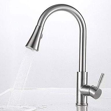 Traditional Pull-Out/Pull-Down Vessel Pullout Spray Rotatable Ceramic Valve Single Handle One Hole Nickel Brushed, Kitchen Faucet