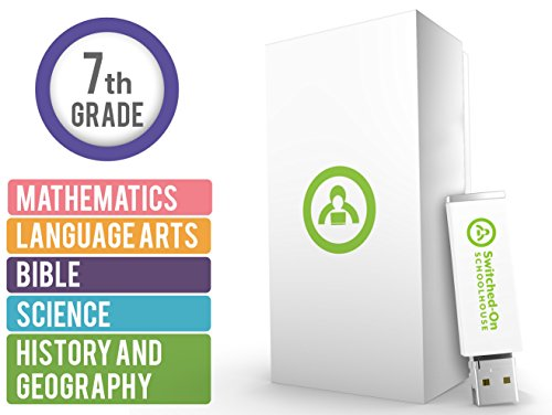 Switched on Schoolhouse, Grade 7, USB 5 Subject Set - Math, Language, Science, History, & Bible, 7th Grade Homeschool Curriculum by Alpha Omega (Best Homeschool Science Curriculum)