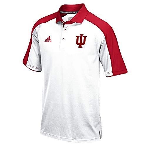 White Sideline Performance Polo - adidas Indiana Hoosiers NCAA Men's Sideline Climalite Performance Football Coaches White Polo Shirt (L)