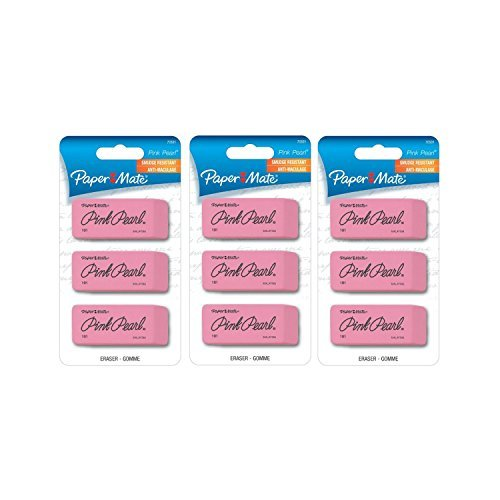 - Paper Mate - 70501 Pink Pearl Premium Erasers,Large,Pack of 9, Beveled, Soft