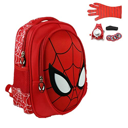 ManalCorp Spiderman Kids Backpack with SPIDERMAN WEB SHOOTER TOYS INCLUDED AS A FREE GIFT!!!,(C) (Best Spiderman Web Shooter)