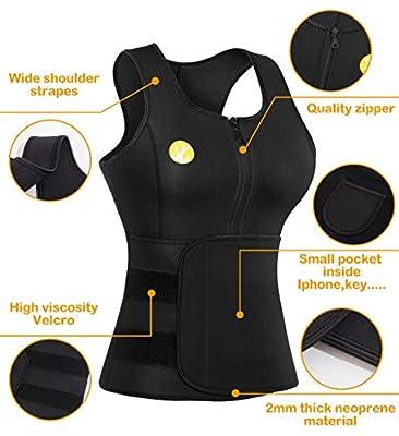 Junlan Women Sauna Waist Trainer Vest Weight Loss Neoprene Tank Top Body Shaper Cincher