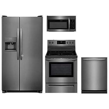 Frigidaire 4-Piece Kitchen Set FFSS2615TD with 36  Side by Side Refrigerator, FFEF3054TD 30  Electric Range, FFMV1645TD 30  Over-the-Range Microwave, FFID2426TD 24  Dishwasher in Stainless Steel