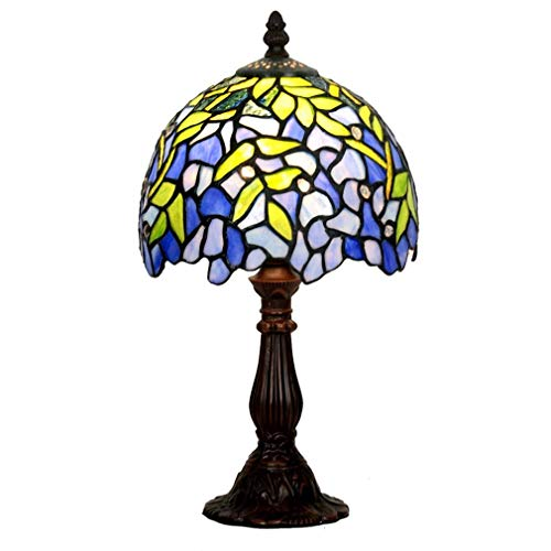 ChuanHan Tiffany Style Desk Lamp/Reading Light, 8-Inch European Style Antique Wisteria Table Light, Stained Glass Table Light, for Cafe, Dining (Wisteria Three Light Chandelier)