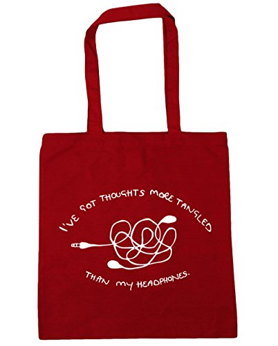 "HippoWarehouse - Bolsa de mano, para compras, gimnasio y playa, diseño con texto en inglés ""I've got thoughts more tangled than my headphones"", 42 x38 cm, 10 litros Classic Red"