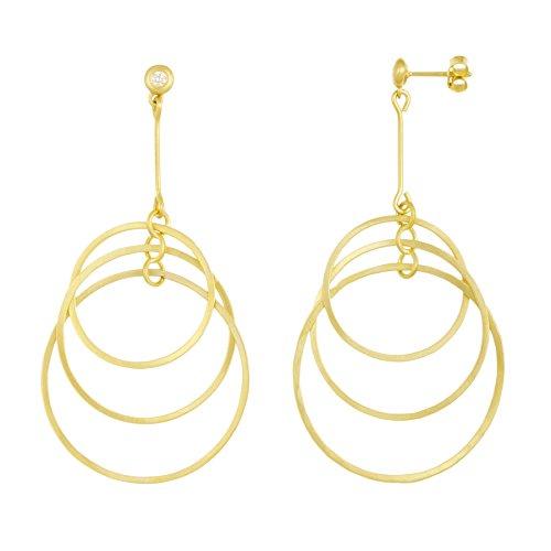 14k Yellow Gold Graduated Open Circle Diamond Earrings (0.12ct)