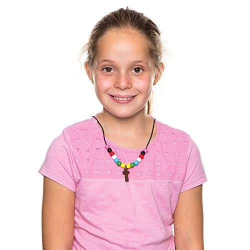 Baker Ross Colors of Faith Necklace Kits (Pack of 4) Easter Crafts for Kids to Assemble and Wear Cross Necklace Craft Kit