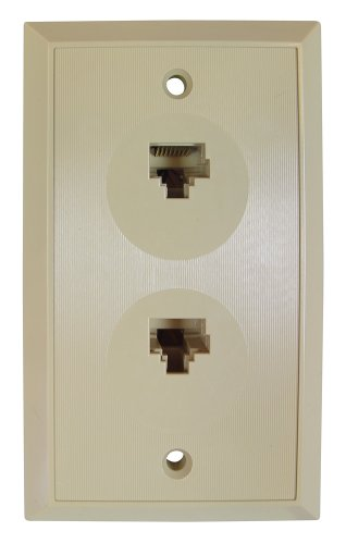 Flush Mount Duplex Wall Outlet Jack, 8 Conductor, 8 Position Keyed, Ivory ()