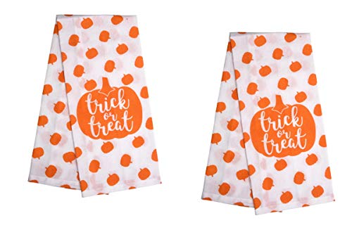 Set of 2 - Retro Halloween Pumpkins Polka Dot Style Classic Orange and White Design Stylish Kitchen Hand Dish Towels - Flour Sack Towel 100% Cotton (Polka Dot Flour Sack Towels)