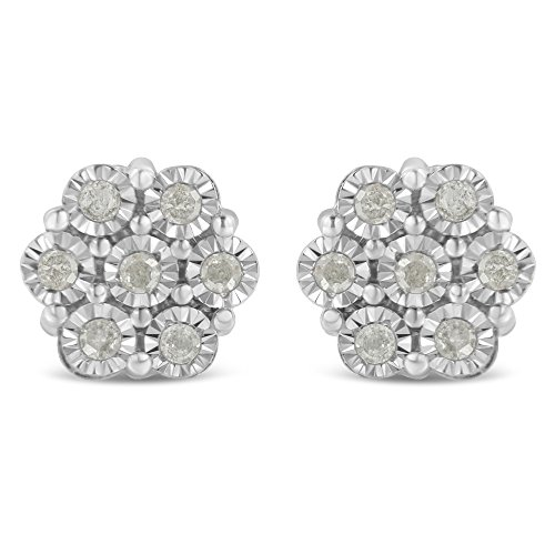 Sterling Silver Rose-Cut Diamond Floral Cluster Stud Earring (0.5 cttw, I-J Color, I2-I3 Clarity) ()