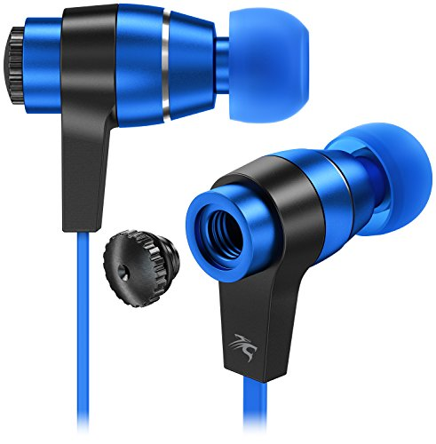 Sentey Black/Blue Earbuds Earphones In ear Headphones headset Metal Audiophile for Music Running Travel Carrying Case Included Tangle Free Cable Oryon LS-4217 Inline Control Microphone Kids Men Girls