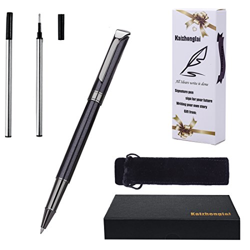 Ballpoint Pen Writing set with gift box Black Barrel fashion collection with 2 Extra Stainless Steel Fine Refill (Roller ball pen Black)