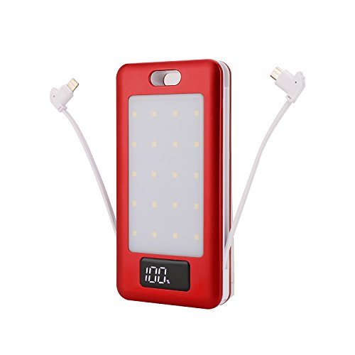 Power Bank 10000mAh,Portable Phone Charger with LED Light,Built-in Lightning Type-c and Android Cable,USB High Fast Dual Battery Power Bank for Women Men Kids iphone,Samsung Galaxy and more by shanjie