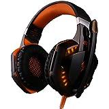 NIUTOP Cuffie Gaming jack 3.5mm con Controllo Volume e Microfono per PC, nero e arancio