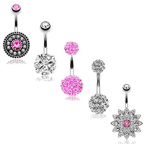 BodyJ4You 5PC Belly Button Rings 14G Flower Disco Ball Steel Pink CZ Crystal Curved Navel Barbell Set